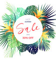 bright tropical sale flyer template with palm vector image vector image