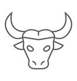 buffalo thin line icon animal and zoo cattle vector image vector image