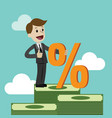 businessman and percent sign vector image
