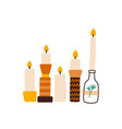 candles in creative holders flat vector image