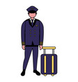 captain pilot with suitcase travel vector image
