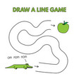 cartoon alligator draw a line game for kids vector image vector image