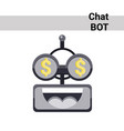 cartoon robot face smiling cute emotion rich chat vector image vector image