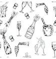 champagne bottle glasses drink seamless pattern vector image vector image