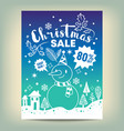 christmas sale poster with white hand drawn vector image