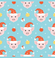 christmas seamless pattern with pigs vector image