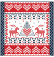 christmas tile style withe reindeers in red and vector image vector image