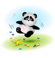 clumsy bear of a panda falls at garbage vector image