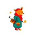 Cute Fox Artist in Autumn vector image vector image