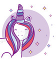 cuteu unicorn cartoon vector image