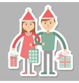 Family couple with Christmas shopping vector image vector image