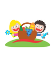 family picnic boy and girl art logo vector image