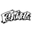 festival word in graffiti style text vector image vector image