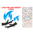 firewood fire icon with bonus flame set vector image