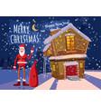 funny cute santa claus with a bag of gifts waving vector image vector image