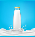glass bottles with milk or vector image vector image