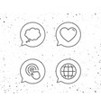 globe internet speech bubble and click icons vector image vector image