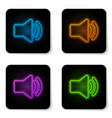 glowing neon speaker volume icon - audio voice vector image