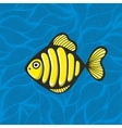 Golden fish on the waves background vector image vector image