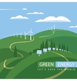 green energy wind turbines and solar panels vector image vector image