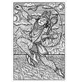 hanuman hindu monkey god engraved fantasy vector image vector image