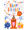 happy birthday party poster vector image vector image