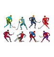 hockey players sport concept cartoon vector image