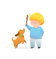 kid boy throwing stick for puppy jumping happy and vector image vector image