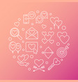 love and feelings round outline vector image