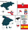 Map of Cantabria vector image vector image