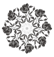 Ornamental round with black peonies vector image vector image