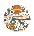 scotland traditional elements in round shape vector image vector image
