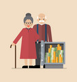 senior man and woman with safe full money vector image vector image
