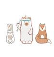 set cute baby animals in scandinavian vector image