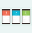 set of calendar widget ui for mobile app vector image vector image