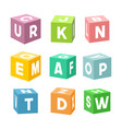 set of colorful toy bricks with letters vector image