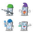 set of iphone character with elf architect army vector image vector image