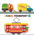 set of isolated transports with animals part 10 vector image