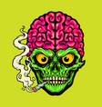 smoking skull weed cigarette vector image vector image
