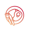 steak and bread icon vector image vector image