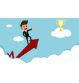 Success concept businessman rides red arrow vector image vector image