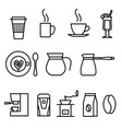 thin line flat coffee icons set vector image
