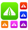 tourist camping tent set color collection vector image vector image