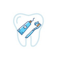 tube of toothpaste and toothbrush icons dental vector image vector image