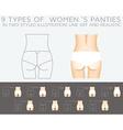 Underwear set 9 types of womens panties in two vector image