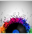vinyl record with music notes vector image vector image
