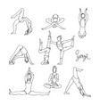 woman in different yoga poses hand drawn sketch vector image