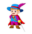 young musketeer with sword vector image vector image