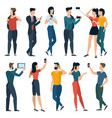young trendy people with mobile phones vector image vector image