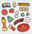 csino gambling doodle with poker cards vector image